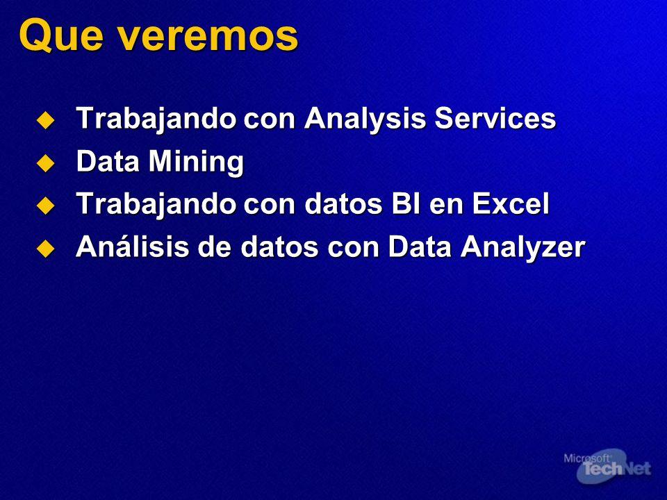 Que veremos Trabajando con Analysis Services Trabajando con Analysis Services Data Mining Data Mining Trabajando con datos BI en Excel Trabajando con datos BI en Excel Análisis de datos con Data Analyzer Análisis de datos con Data Analyzer