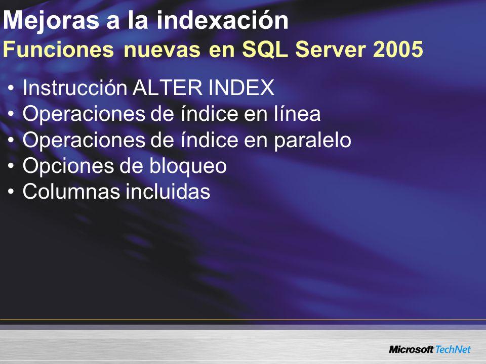 Mejoras a la indexación Funciones nuevas en SQL Server 2005 Instrucción ALTER INDEX Operaciones de índice en línea Operaciones de índice en paralelo Opciones de bloqueo Columnas incluidas