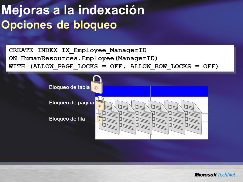 Mejoras a la indexación Opciones de bloqueo CREATE INDEX IX_Employee_ManagerID ON HumanResources.Employee(ManagerID) WITH (ALLOW_PAGE_LOCKS = OFF, ALLOW_ROW_LOCKS = OFF) CREATE INDEX IX_Employee_ManagerID ON HumanResources.Employee(ManagerID) WITH (ALLOW_PAGE_LOCKS = OFF, ALLOW_ROW_LOCKS = OFF) Bloqueo de fila Bloqueo de página Bloqueo de tabla