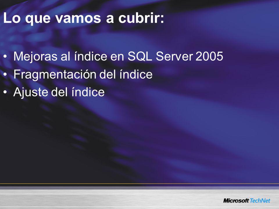 Lo que vamos a cubrir: Mejoras al índice en SQL Server 2005 Fragmentación del índice Ajuste del índice