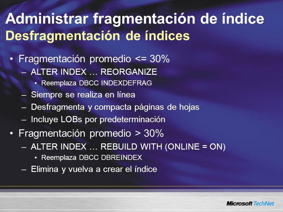 Administrar fragmentación de índice Desfragmentación de índices Fragmentación promedio <= 30% –ALTER INDEX … REORGANIZE Reemplaza DBCC INDEXDEFRAG –Siempre se realiza en línea –Desfragmenta y compacta páginas de hojas –Incluye LOBs por predeterminación Fragmentación promedio > 30% –ALTER INDEX … REBUILD WITH (ONLINE = ON) Reemplaza DBCC DBREINDEX –Elimina y vuelva a crear el índice