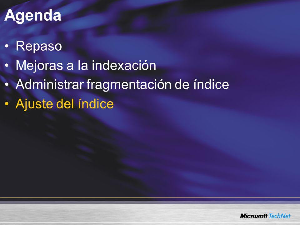 Agenda Repaso Mejoras a la indexación Administrar fragmentación de índice Ajuste del índice