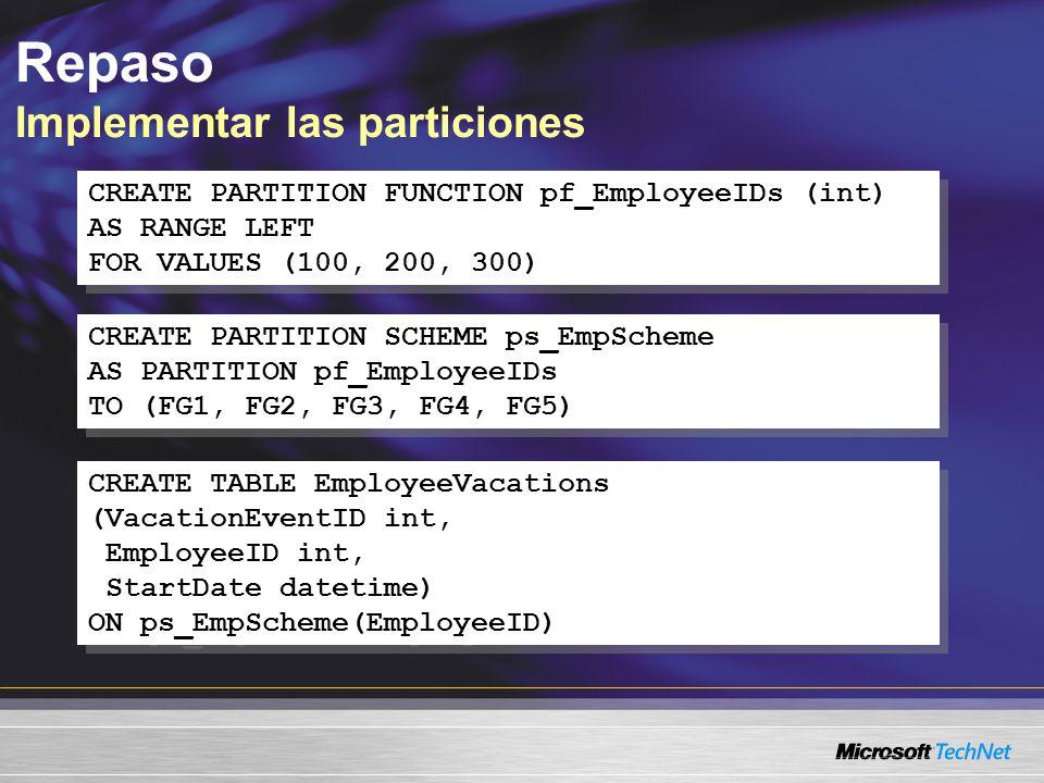 Mejoras a la indexación Opciones de bloqueo CREATE INDEX IX_Employee_ManagerID ON HumanResources.Employee(ManagerID) WITH (ALLOW_PAGE_LOCKS = OFF, ALLOW_ROW_LOCKS = OFF) CREATE INDEX IX_Employee_ManagerID ON HumanResources.Employee(ManagerID) WITH (ALLOW_PAGE_LOCKS = OFF, ALLOW_ROW_LOCKS = OFF) Bloqueo de fila Bloqueo de página Bloqueo de tabla
