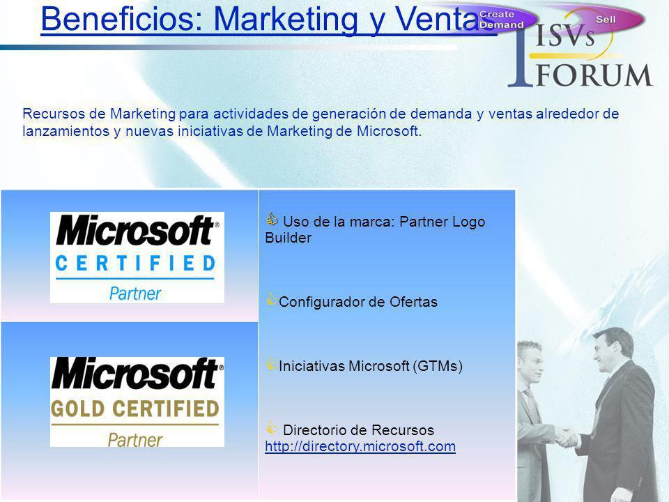 Uso de la marca: Partner Logo Builder Configurador de Ofertas Iniciativas Microsoft (GTMs) Directorio de Recursos http://directory.microsoft.com http: