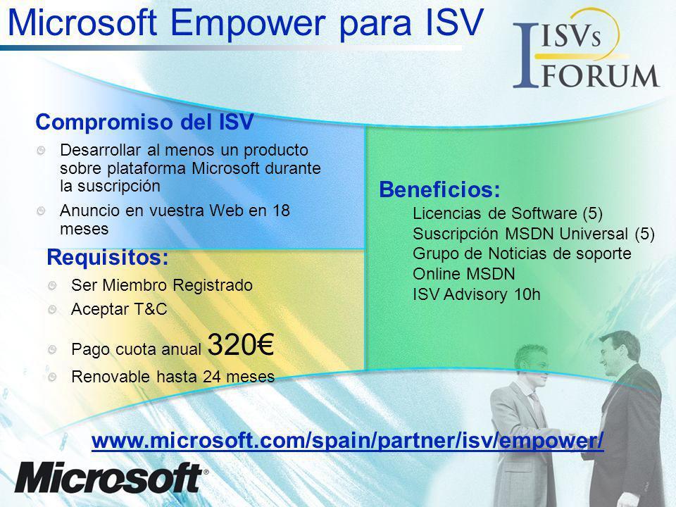 Microsoft Empower para ISV Requisitos: Ser Miembro Registrado Aceptar T&C Pago cuota anual 320 Renovable hasta 24 meses Compromiso del ISV Desarrollar