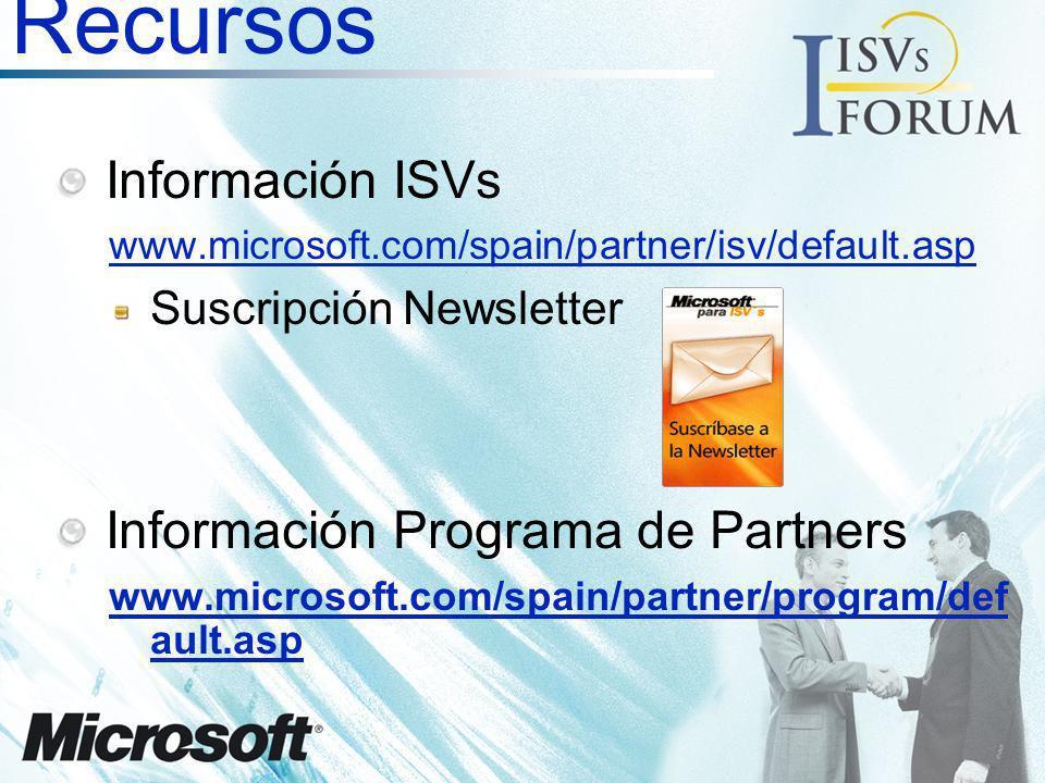 Recursos Información ISVs www.microsoft.com/spain/partner/isv/default.asp Suscripción Newsletter Información Programa de Partners www.microsoft.com/sp