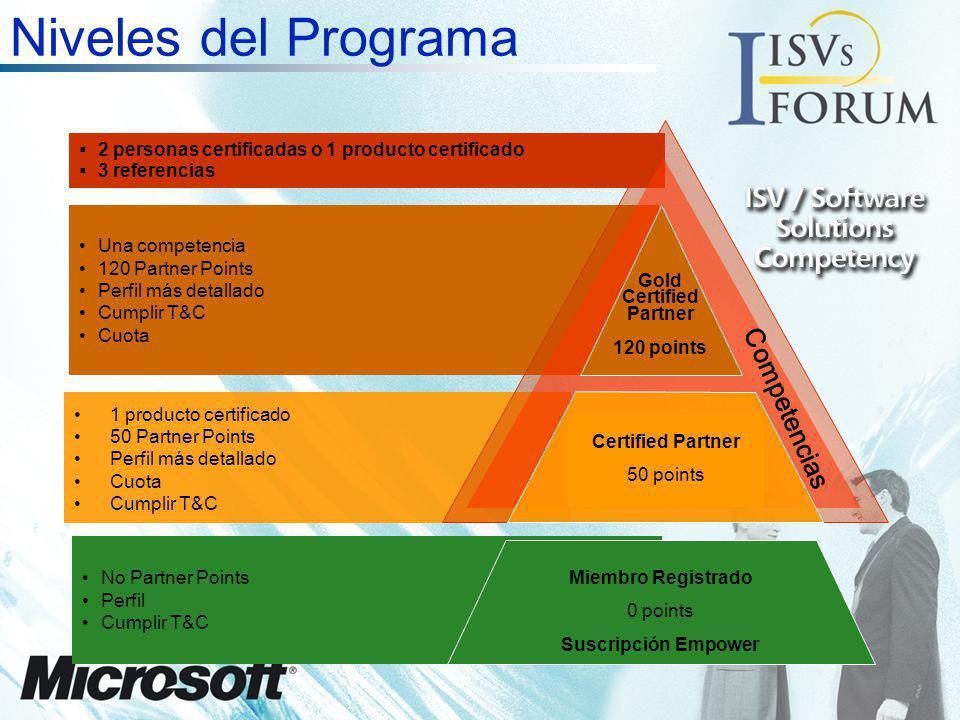 2 personas certificadas o 1 producto certificado 3 referencias 1 producto certificado 50 Partner Points Perfil más detallado Cuota Cumplir T&C Una com