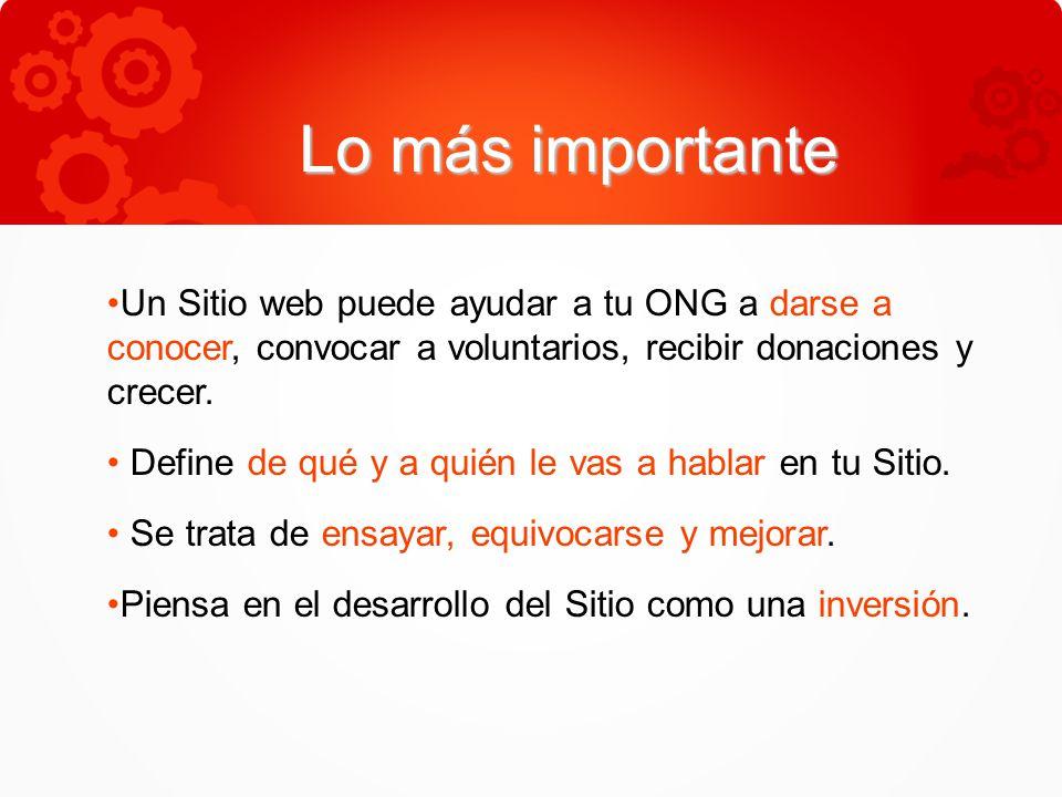 Lo más importante Un Sitio web puede ayudar a tu ONG a darse a conocer, convocar a voluntarios, recibir donaciones y crecer.