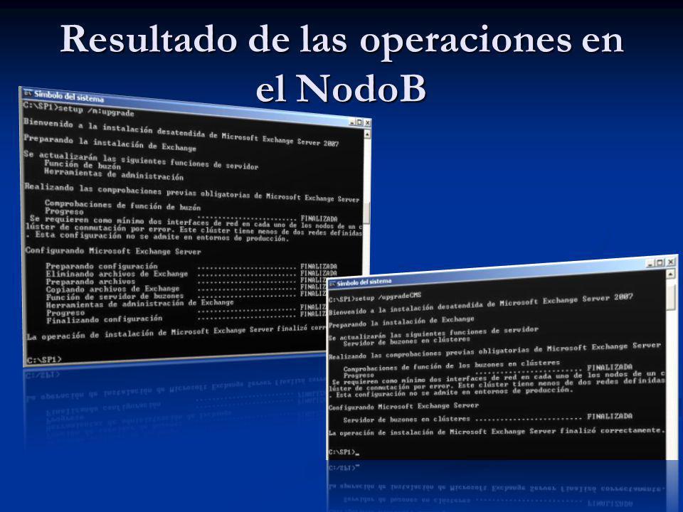 Resultado de las operaciones en el NodoB