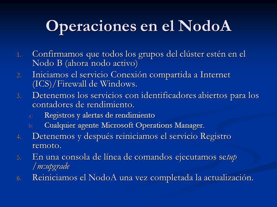 Operaciones en el NodoA 1. Confirmamos que todos los grupos del clúster estén en el Nodo B (ahora nodo activo) 2. Iniciamos el servicio Conexión compa