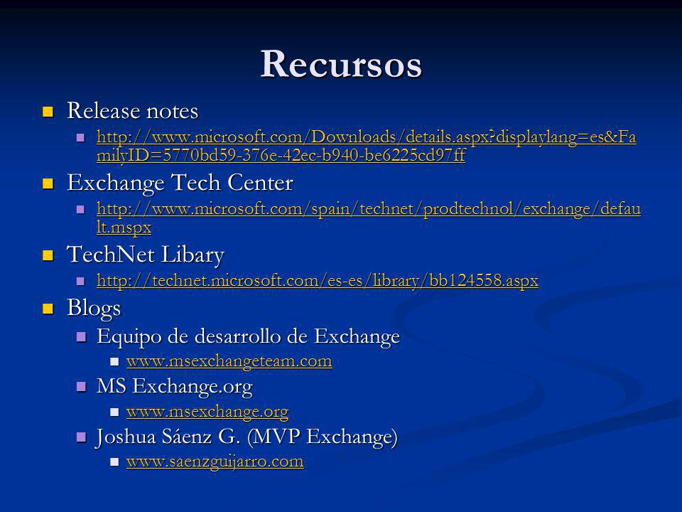 Recursos Release notes Release notes http://www.microsoft.com/Downloads/details.aspx?displaylang=es&Fa milyID=5770bd59-376e-42ec-b940-be6225cd97ff htt