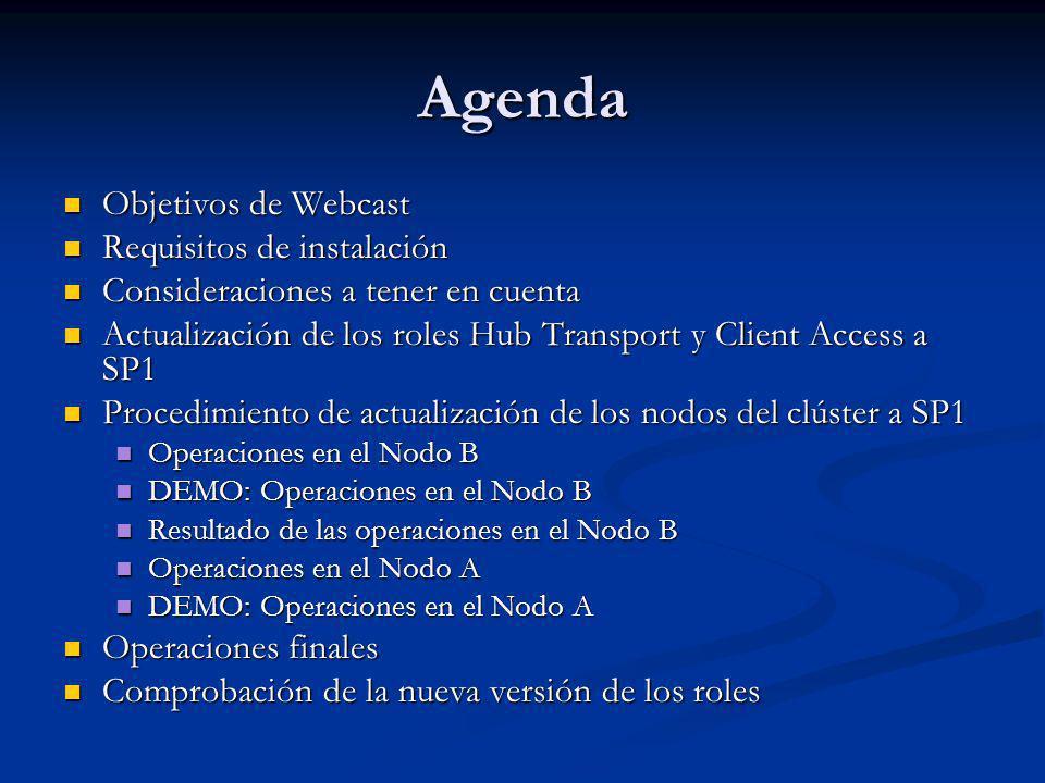Agenda Objetivos de Webcast Objetivos de Webcast Requisitos de instalación Requisitos de instalación Consideraciones a tener en cuenta Consideraciones a tener en cuenta Actualización de los roles Hub Transport y Client Access a SP1 Actualización de los roles Hub Transport y Client Access a SP1 Procedimiento de actualización de los nodos del clúster a SP1 Procedimiento de actualización de los nodos del clúster a SP1 Operaciones en el Nodo B Operaciones en el Nodo B DEMO: Operaciones en el Nodo B DEMO: Operaciones en el Nodo B Resultado de las operaciones en el Nodo B Resultado de las operaciones en el Nodo B Operaciones en el Nodo A Operaciones en el Nodo A DEMO: Operaciones en el Nodo A DEMO: Operaciones en el Nodo A Operaciones finales Operaciones finales Comprobación de la nueva versión de los roles Comprobación de la nueva versión de los roles