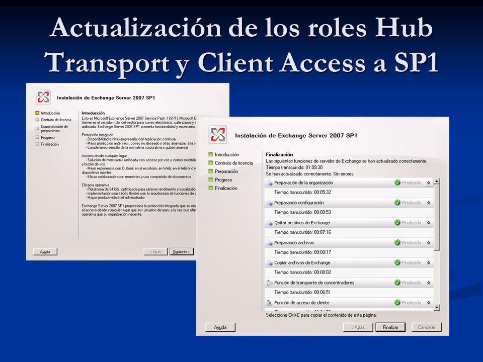 Actualización de los roles Hub Transport y Client Access a SP1