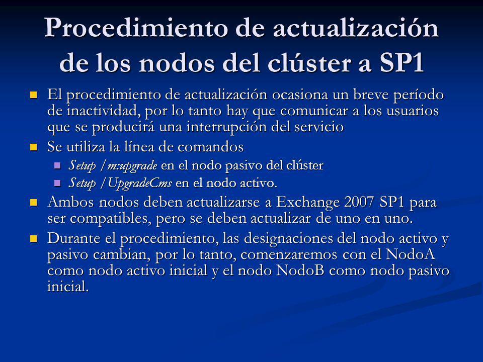 Procedimiento de actualización de los nodos del clúster a SP1 El procedimiento de actualización ocasiona un breve período de inactividad, por lo tanto hay que comunicar a los usuarios que se producirá una interrupción del servicio El procedimiento de actualización ocasiona un breve período de inactividad, por lo tanto hay que comunicar a los usuarios que se producirá una interrupción del servicio Se utiliza la línea de comandos Se utiliza la línea de comandos Setup /m:upgrade en el nodo pasivo del clúster Setup /m:upgrade en el nodo pasivo del clúster Setup /UpgradeCms en el nodo activo.