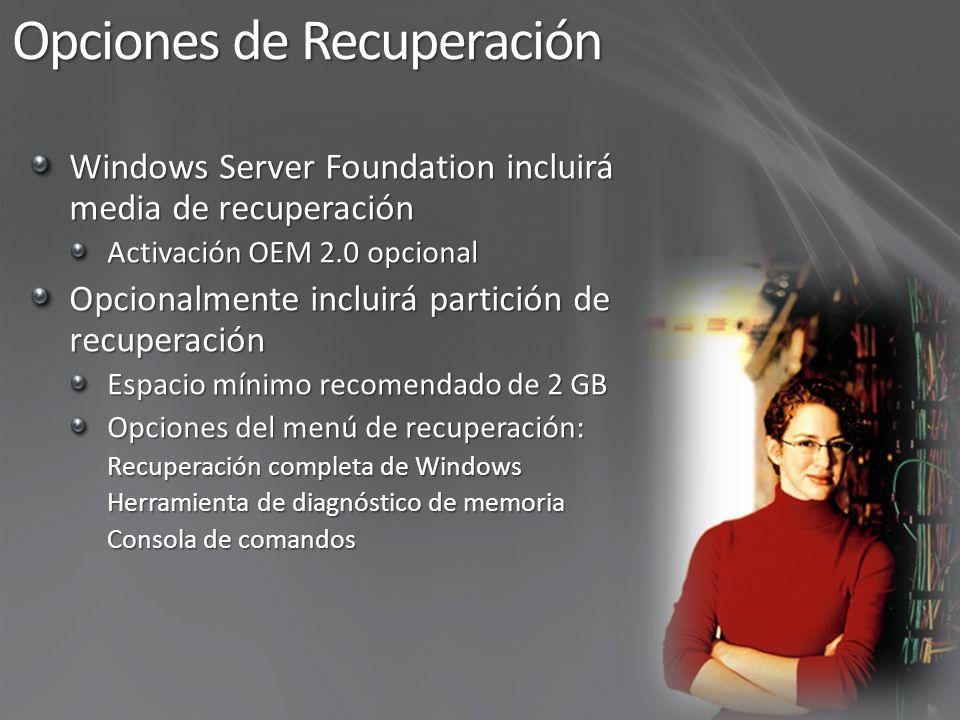 DesdeHaciaMétodo Instalación tipo upgrade soportada Upgrade soportado – requiere Windows Server 2008 Standard media Windows Server Foundation sienta la base para futuros upgrades a Windows Server Standard