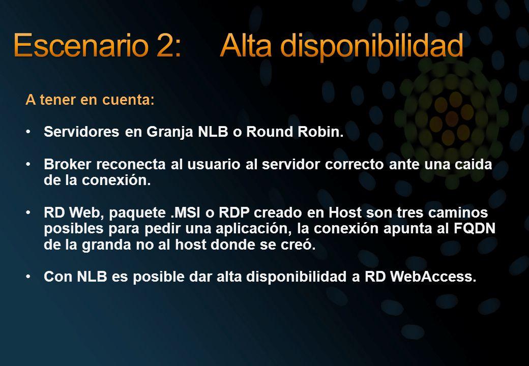 A tener en cuenta: Servidores en Granja NLB o Round Robin. Broker reconecta al usuario al servidor correcto ante una caida de la conexión. RD Web, paq