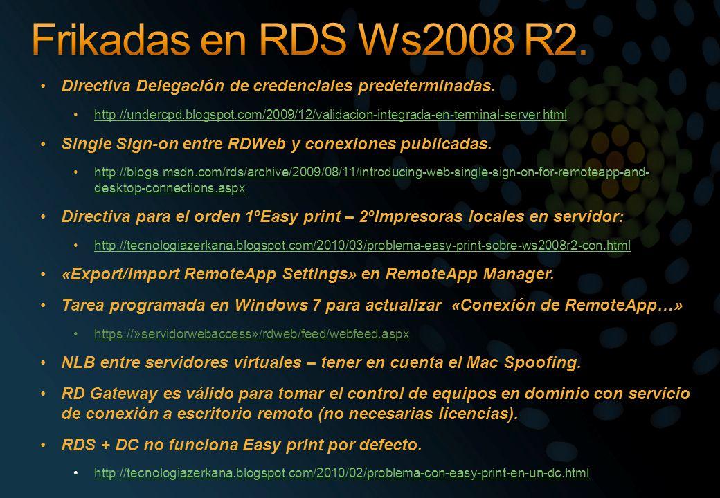 Directiva Delegación de credenciales predeterminadas. http://undercpd.blogspot.com/2009/12/validacion-integrada-en-terminal-server.html Single Sign-on