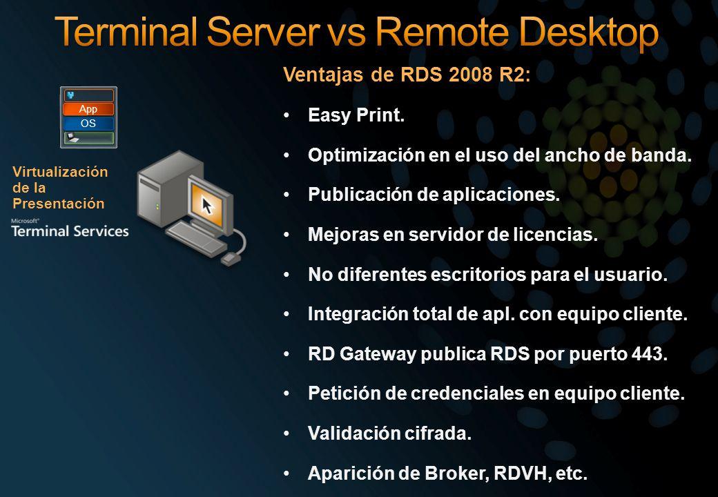 Virtualización de la Presentación OS App Ventajas de RDS 2008 R2: Easy Print. Optimización en el uso del ancho de banda. Publicación de aplicaciones.