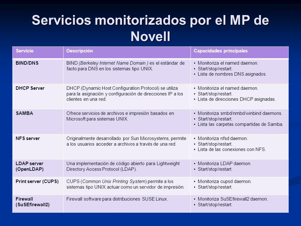 Servicios monitorizados por el MP de Novell ServicioDescripciónCapacidades principales BIND/DNSBIND (Berkeley Internet Name Domain ) es el estándar de