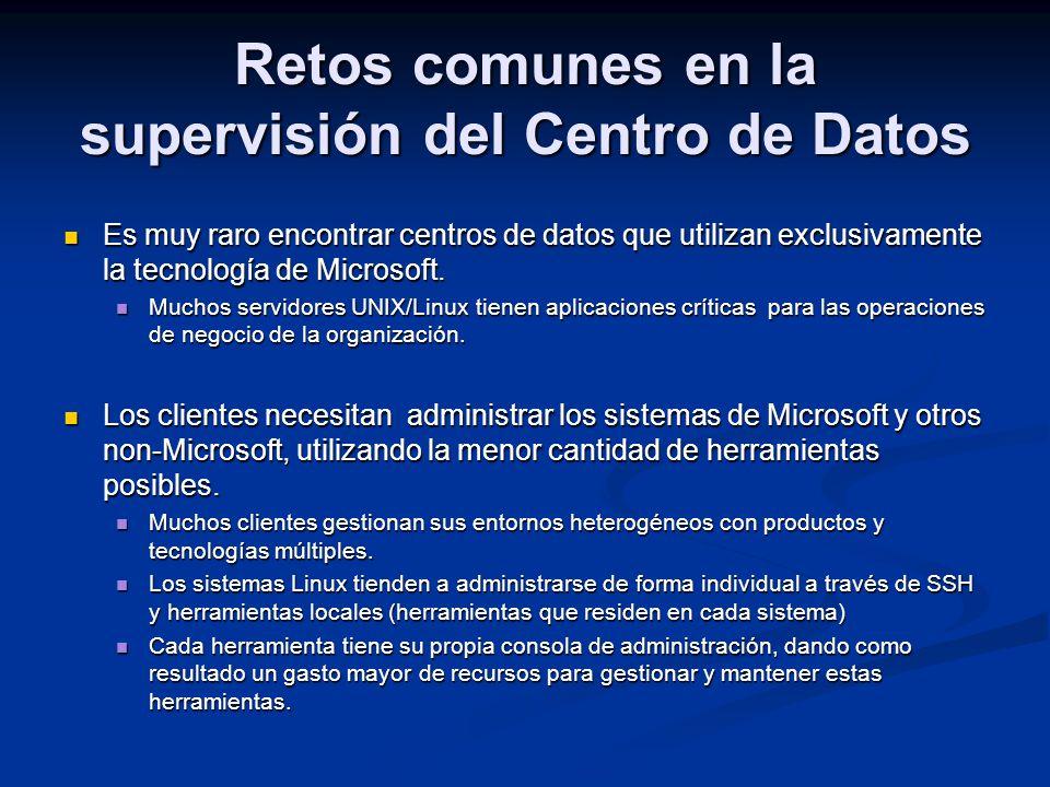 Es muy raro encontrar centros de datos que utilizan exclusivamente la tecnología de Microsoft. Es muy raro encontrar centros de datos que utilizan exc