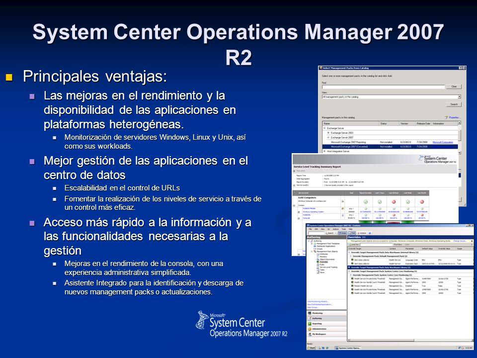 System Center Operations Manager 2007 R2 Principales ventajas: Principales ventajas: Las mejoras en el rendimiento y la disponibilidad de las aplicaci