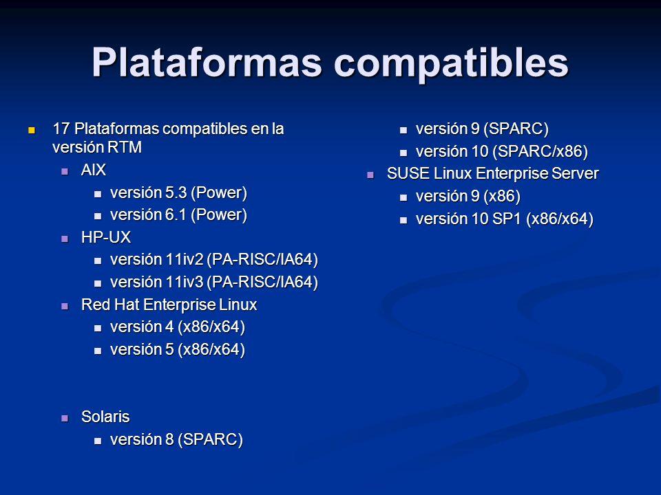 17 Plataformas compatibles en la versión RTM 17 Plataformas compatibles en la versión RTM AIX AIX versión 5.3 (Power) versión 5.3 (Power) versión 6.1