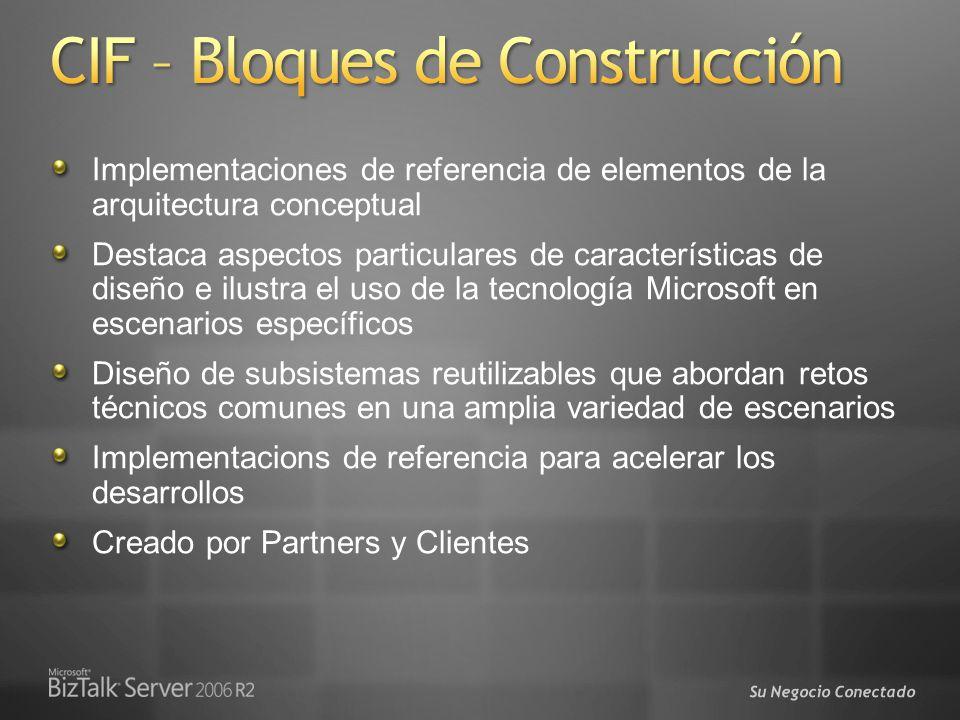 Su Negocio Conectado Implementaciones de referencia de elementos de la arquitectura conceptual Destaca aspectos particulares de características de dis