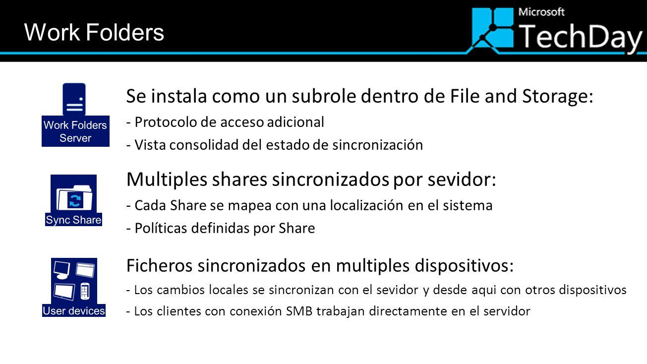 Se instala como un subrole dentro de File and Storage: - Protocolo de acceso adicional - Vista consolidad del estado de sincronización Multiples shares sincronizados por sevidor: - Cada Share se mapea con una localización en el sistema - Políticas definidas por Share Ficheros sincronizados en multiples dispositivos: - Los cambios locales se sincronizan con el sevidor y desde aqui con otros dispositivos - Los clientes con conexión SMB trabajan directamente en el servidor