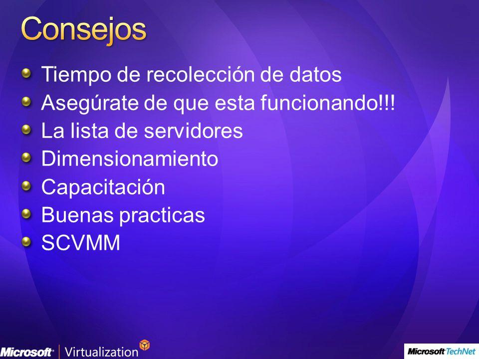 Tiempo de recolección de datos Asegúrate de que esta funcionando!!! La lista de servidores Dimensionamiento Capacitación Buenas practicas SCVMM