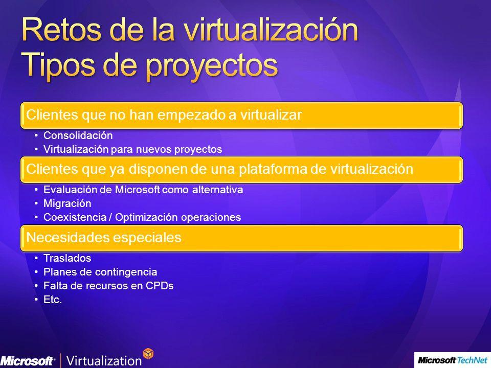 Clientes que no han empezado a virtualizar Consolidación Virtualización para nuevos proyectos Clientes que ya disponen de una plataforma de virtualización Evaluación de Microsoft como alternativa Migración Coexistencia / Optimización operaciones Necesidades especiales Traslados Planes de contingencia Falta de recursos en CPDs Etc.