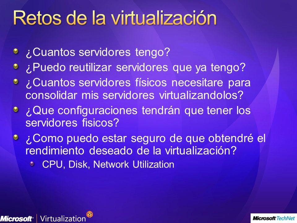 ¿Cuantos servidores tengo? ¿Puedo reutilizar servidores que ya tengo? ¿Cuantos servidores físicos necesitare para consolidar mis servidores virtualiza