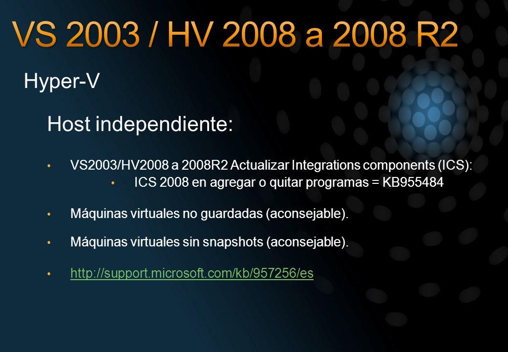 Hyper-V Host independiente: VS2003/HV2008 a 2008R2 Actualizar Integrations components (ICS): ICS 2008 en agregar o quitar programas = KB955484 Máquina