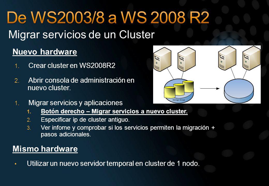 Nuevo hardware Migrar servicios de un Cluster 1. Crear cluster en WS2008R2 2. Abrir consola de administración en nuevo cluster. 1. Migrar servicios y