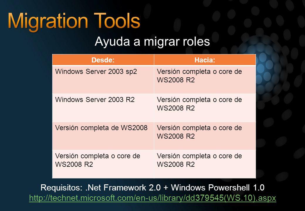 Ayuda a migrar roles Desde:Hacia: Windows Server 2003 sp2Versión completa o core de WS2008 R2 Windows Server 2003 R2Versión completa o core de WS2008