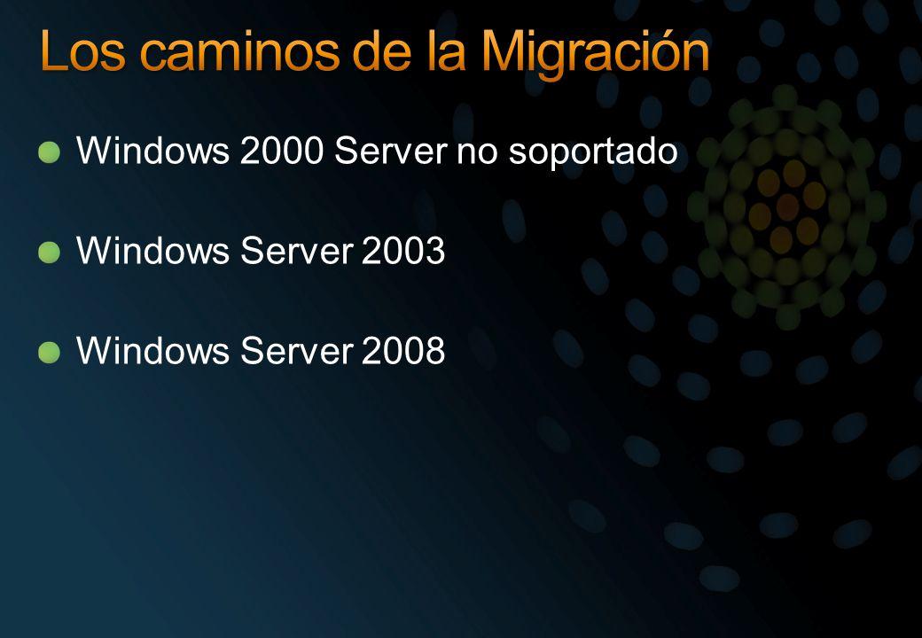 Windows 2000 Server no soportado Windows Server 2003 Windows Server 2008