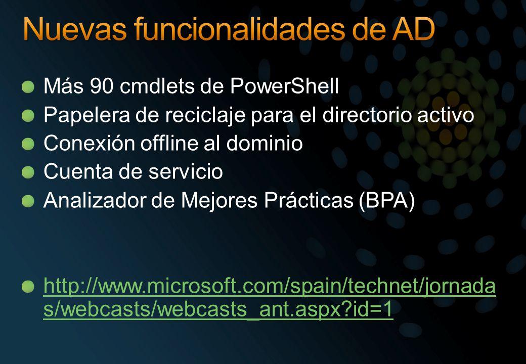 Más 90 cmdlets de PowerShell Papelera de reciclaje para el directorio activo Conexión offline al dominio Cuenta de servicio Analizador de Mejores Prác