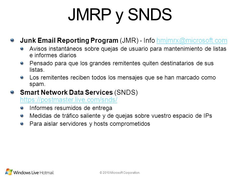 © 2010 Microsoft Corporation. JMRP y SNDS Junk Email Reporting Program (JMR) - Info hmjmrx@microsoft.comhmjmrx@microsoft.com Avisos instantáneos sobre