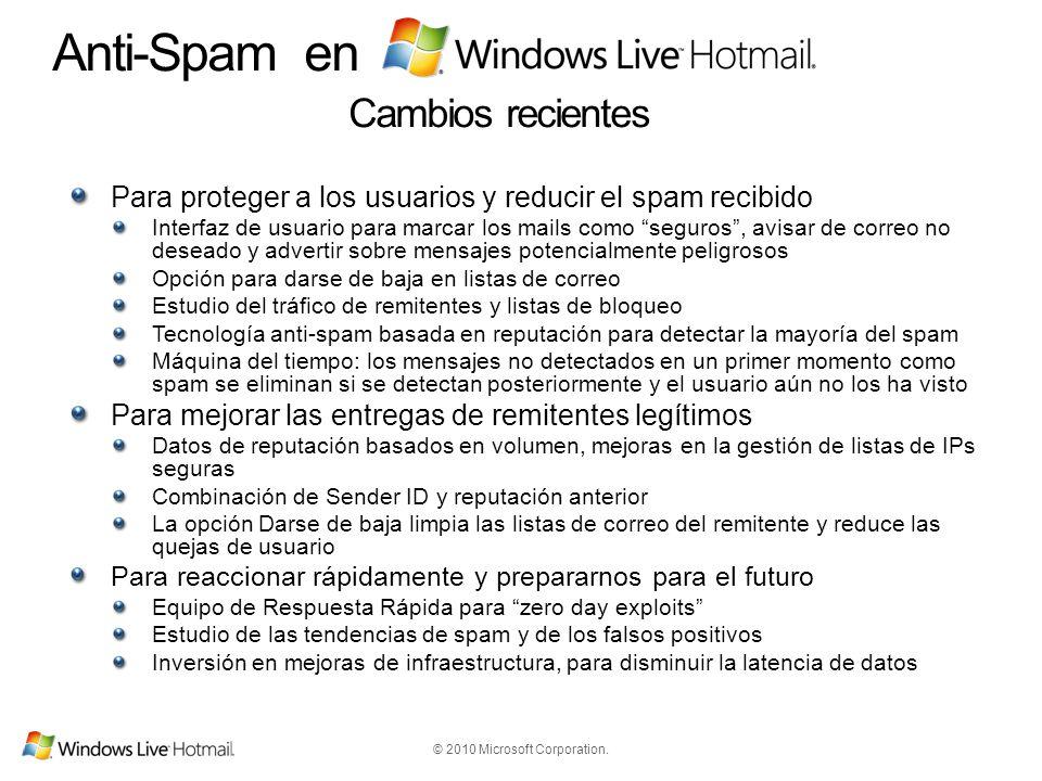 © 2010 Microsoft Corporation. Anti-Spam en Cambios recientes Para proteger a los usuarios y reducir el spam recibido Interfaz de usuario para marcar l