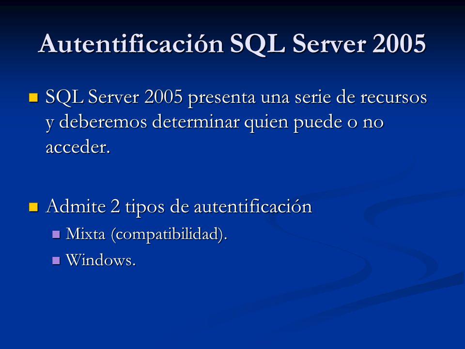 Autentificación SQL Server 2005 SQL Server 2005 presenta una serie de recursos y deberemos determinar quien puede o no acceder. SQL Server 2005 presen