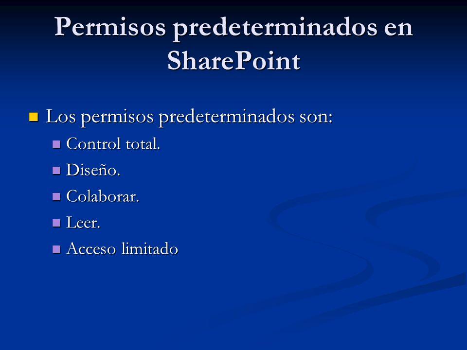 Permisos predeterminados en SharePoint Los permisos predeterminados son: Los permisos predeterminados son: Control total. Control total. Diseño. Diseñ