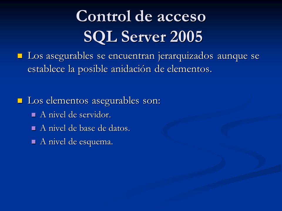 Control de acceso SQL Server 2005 Los asegurables se encuentran jerarquizados aunque se establece la posible anidación de elementos. Los asegurables s