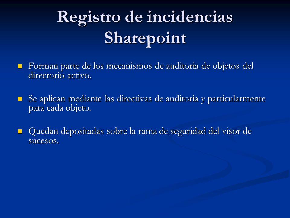 Registro de incidencias Sharepoint Forman parte de los mecanismos de auditoria de objetos del directorio activo. Forman parte de los mecanismos de aud