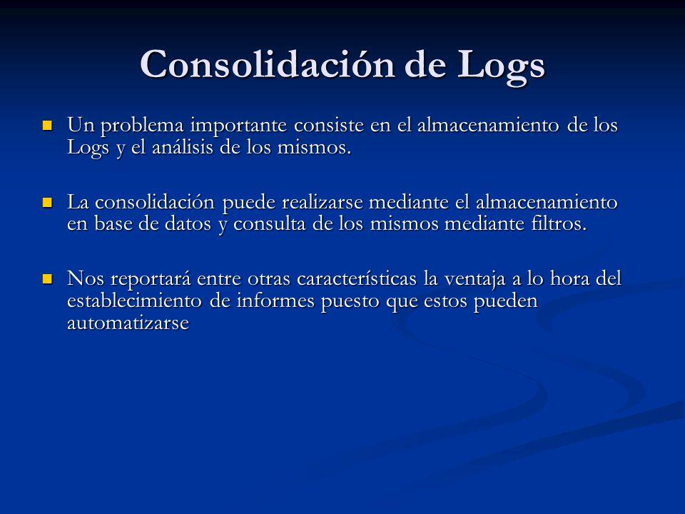 Consolidación de Logs Un problema importante consiste en el almacenamiento de los Logs y el análisis de los mismos. Un problema importante consiste en