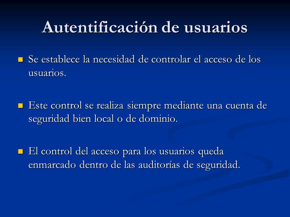 Autentificación de usuarios Se establece la necesidad de controlar el acceso de los usuarios. Se establece la necesidad de controlar el acceso de los