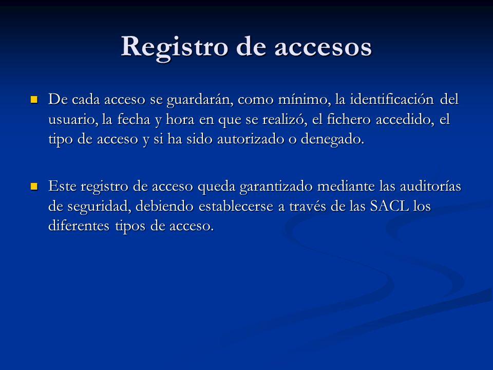 Registro de accesos De cada acceso se guardarán, como mínimo, la identificación del usuario, la fecha y hora en que se realizó, el fichero accedido, e