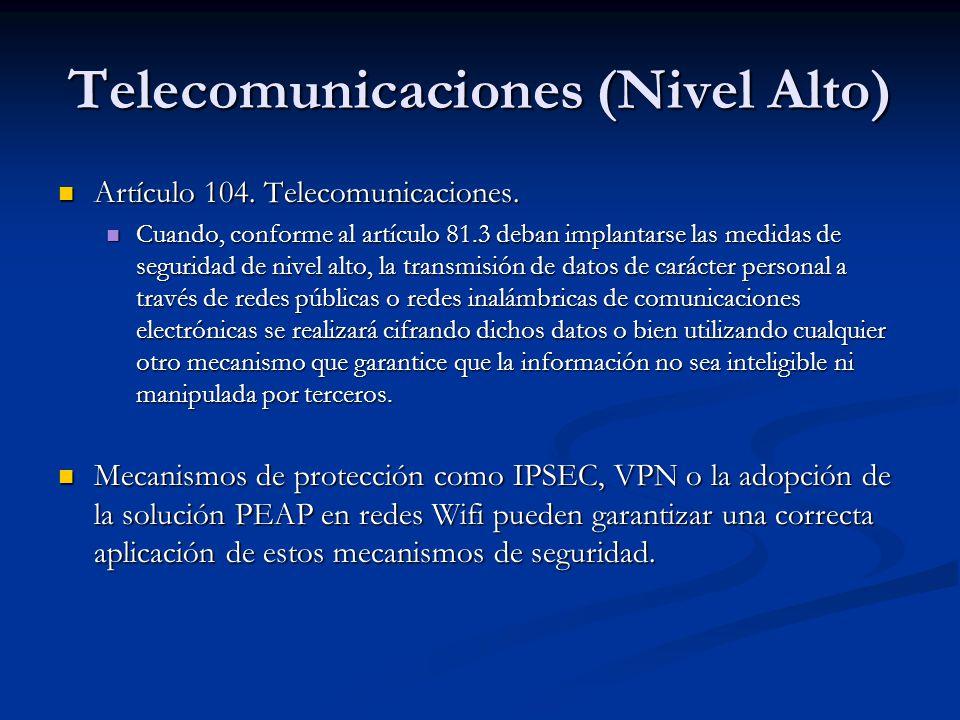 Telecomunicaciones (Nivel Alto) Artículo 104. Telecomunicaciones. Artículo 104. Telecomunicaciones. Cuando, conforme al artículo 81.3 deban implantars