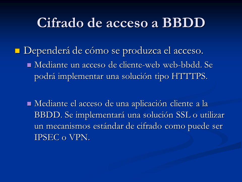 Cifrado de acceso a BBDD Dependerá de cómo se produzca el acceso. Dependerá de cómo se produzca el acceso. Mediante un acceso de cliente-web web-bbdd.