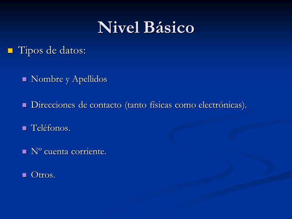 Nivel Básico Tipos de datos: Tipos de datos: Nombre y Apellidos Nombre y Apellidos Direcciones de contacto (tanto físicas como electrónicas). Direccio
