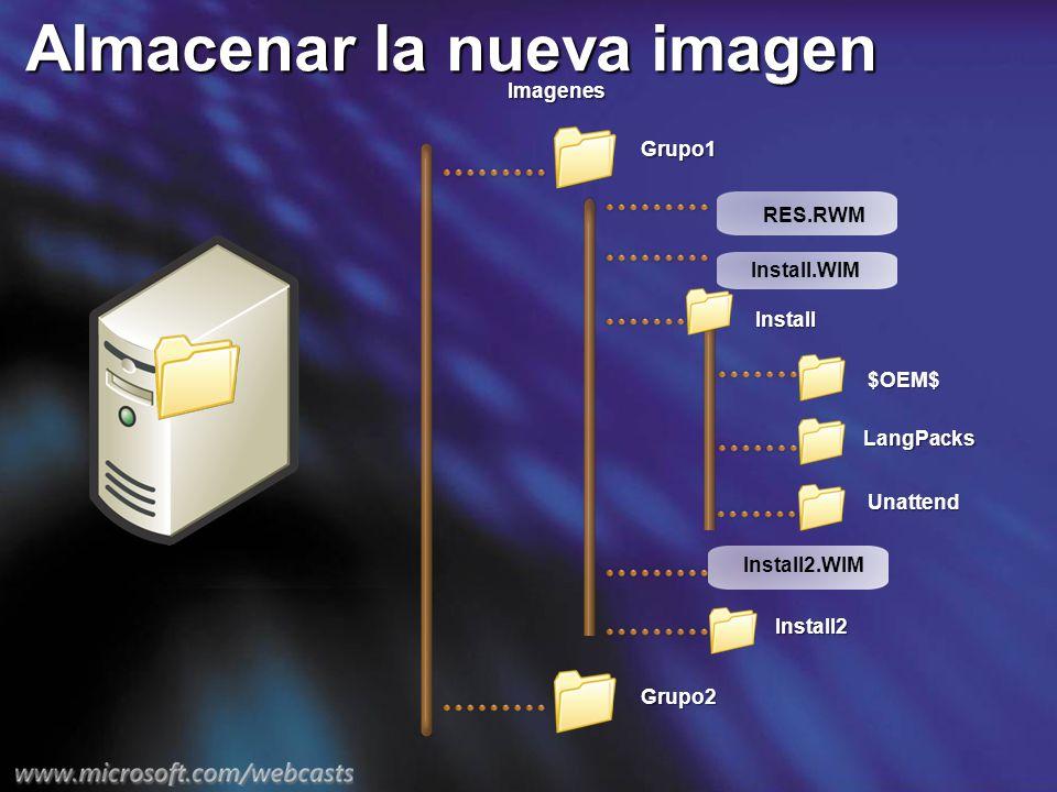 Almacenar la nueva imagen Install Install2 Imagenes Grupo1 $OEM$ LangPacks Unattend Grupo2 Install.WIM Install2.WIM RES.RWM
