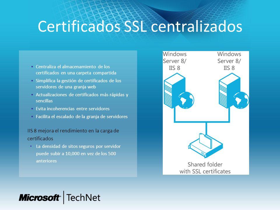 Certificados SSL centralizados Centraliza el almacenamiento de los certificados en una carpeta compartida Simplifica la gestión de certificados de los servidores de una granja web Actualizaciones de certificados más rápidas y sencillas Evita incoherencias entre servidores Facilita el escalado de la granja de servidores IIS 8 mejora el rendimiento en la carga de certificados La densidad de sitos seguros por servidor puede subir a 10,000 en vez de los 500 anteriores
